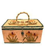 Antique 1920s Japan Sewing Basket Rare Box Satin Lined 8 inches Long  - $46.52