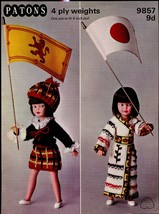 "Patons Knitting Pattern 9857 9d To Fit 9"" Dolls 4ply National Costume Series - $5.99"