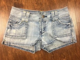Women's American Eagle Distressed Jean Shorts Size 0 Flap Pockets Retro ... - $12.34