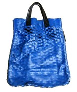 Emporio Armani Bag - Beach Pool Travel Tote - Blue Oversized Mesh Web Logo - $48.51
