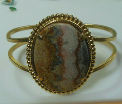 Gold- tone Marbled Faceted Polished Hinged Cuff Bracelet  - $44.55