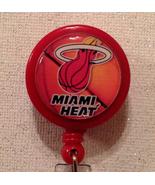 Nba Miami Heat Badge Reel Id Holder Red Alligator Clip Handmade New - $8.99