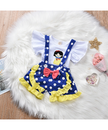 NEW Snow White Ruffle Shirt Suspender Shorts Girls Outfit Set 12M 18M 2T 3T - $12.99