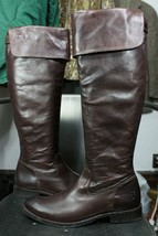 Frye Shirley OTK boots 9 B leather brown $498 euc mint over the knee 77739 - $3.890,44 MXN