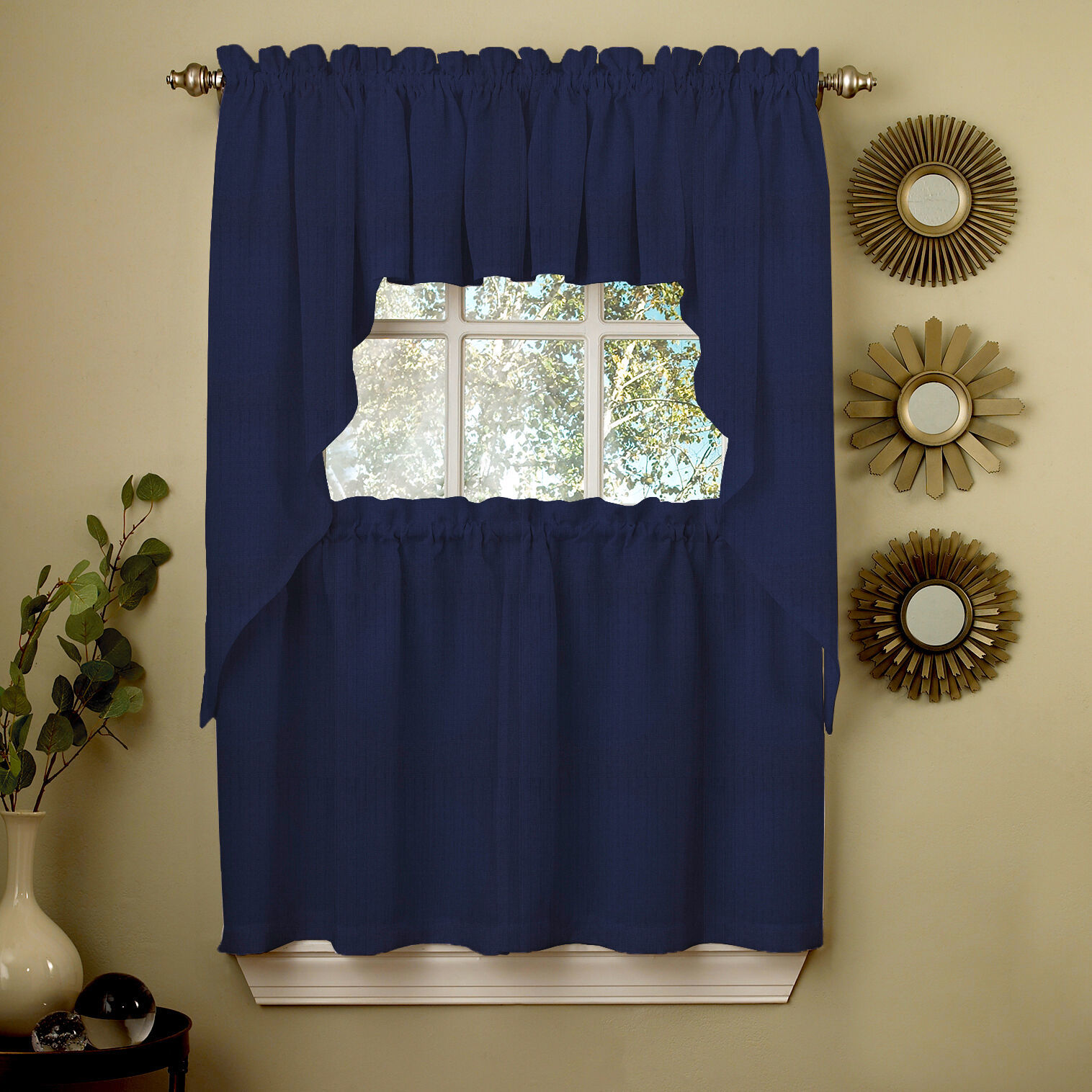 Primary image for Navy Solid Opaque Ribcord Kitchen Curtains - Choice of Tiers Valance or Swag