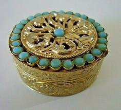 j141 V Villan Vintage Italian Pill Box Turquoise Seed Beads Filigree Gol... - $18.09