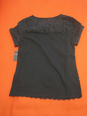 Abercrombie Kids Girl Blouse Top Sz M 12 Navy Eyelet Knit Back Short Sleeve  New image 3