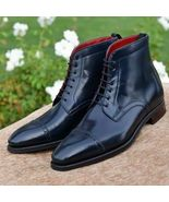 New Handmade Men's high Ankle Cap Toe Black Leather Lace Up Brogue Boots - $149.99 - $169.99