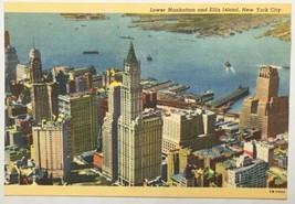 Old Linen Era Postcard Lower Manhattan Ellis Island, New York City NY Hu... - $9.79