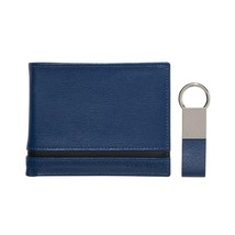 Calvin Klein Ck Men's Leather Bifold Id Wallet Key Chain Set Blue 79485 image 1