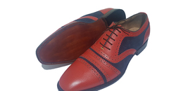 Handmade Men's Maroon Leather Blue Suede Heart Medallion Lace Up Oxford Shoes image 5