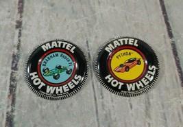 "Set of 2 Vintage 1968 Mattel Hotwheels ""Python""/""Brabham Repco Fl"" Button Pin - $29.69"