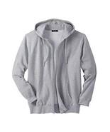 KingSize Men's Big & Tall Fleece Zip-Front Hoodie, Heather Grey Big-XL - $25.94