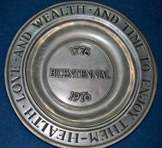 "1776-1976 Bicentennial PEWTER PLATE ""Health Wealth & Time to Enjoy Them"" WILTON - $19.99"