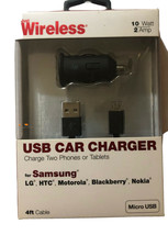 Car Charger Samsung USB 4ft 10 Watt Fast Charger New Just Wireless - $9.40