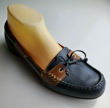 Clarks Women's Navy and Tan Boat Shoes Leather Size 7.5 M - £22.90 GBP
