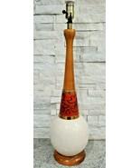Vintage Mid Century Danish Modern Ceramic Teak Wood Lamp With Burnt Red ... - $187.00
