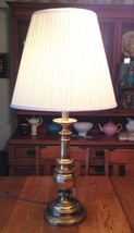 Vintage Stiffel Mid-Century Brass Candlestick Table Lamp Heavy Tradition... - £34.29 GBP