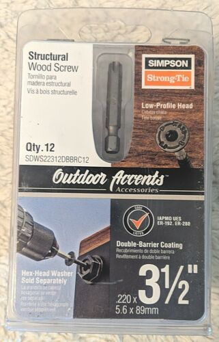 Simpson StrongTie SDWS22312DBBRC12 Low Profile Head Structural Wood Screw