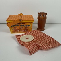 Picnic Basket Vintage Fisher Price Fun Bear 1974 No. 677 Cup Bear Basket - $14.99