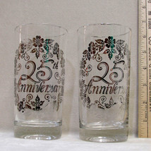 Vintage Pair Drinking Glasses 25th Wedding Anniversary Silver Design Flo... - $9.89