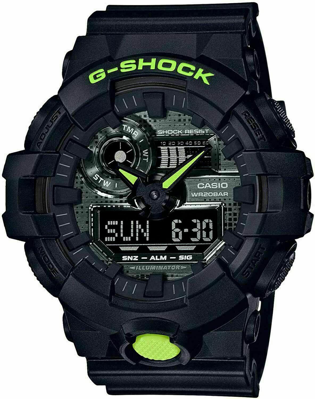 Casio G-Shock GA700 Digi Camo Front Button Resin Black/Lime Watch GA700DC-1A
