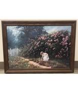 June Dudley Heavenly Blessings Framed Girl In Flower Garden Large Framed... - $95.00