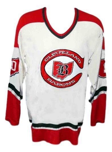 Custom name   cleveland barons retro hockey jersey white   1