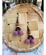 Purple flower drop Earrings, Handmade flowers with wood beads and leathe... - $19.75