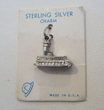 Vintage New on Card MACKINAC ISLAND FERRY~ MICHIGAN ~ Sterling Silver Charm - $14.99