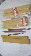 LARGE LOT OF WOODEN & METAL CLAY POTTERY CERAMIC MODELING TOOLS - $4.99