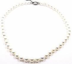 Halskette weißgold 18K, Perlen 8-8.5 MM, weiß, Süßwasser, hoch Qualität - $1,397.81