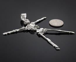 Sterling Silver 3D Skeleton Dangle Halloween Pendant - €54,08 EUR