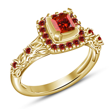 14k Yellow GP 925 Silver Princess Cut Red Garnet Womens Wedding Annivers... - $79.25