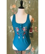 NWT Vigoss Embroidered One Piece Swimsuit Sz Large Turquoise Blue Snap B... - $52.26