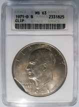 1971 D Eisenhower Dollar IKE ANACS MS 63 Curved Clip Clipped Mint Error ... - £94.90 GBP