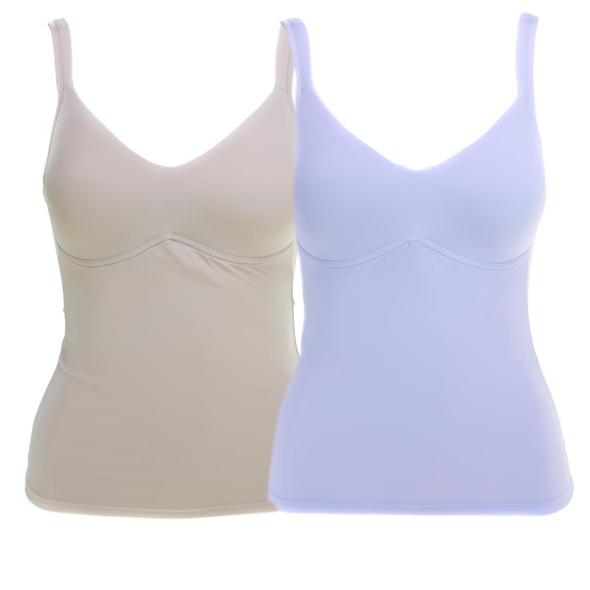 Rhonda Shear Everyday Molded Cup 2pk Camisole, Nude/Purple Heather, M (586-078)