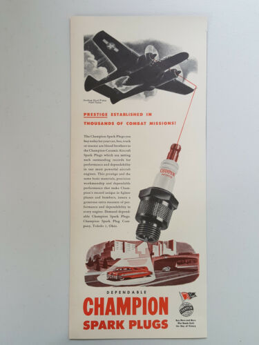 Primary image for 1945 Champion Spark Plugs Auto Care Northrop Black Widow Vtg Magazine Print Ad