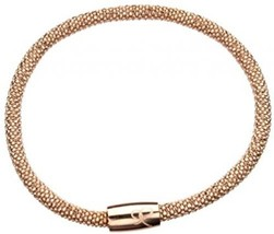 Sterling Silver Rose Gold Plated Faceted Flexible Popcorn Magnetic Clasp Mesh - $171.39