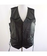 Hudson Black Leather Braided and Laced Motorcycle Vest Womens Sz L - $48.37