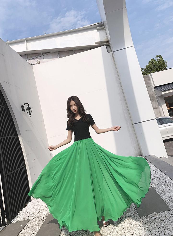 Green chiffon skirt 5