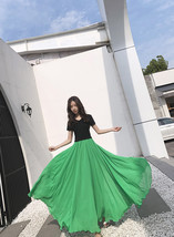 Women's Green Chiffon Skirt Outfit High Waist Chiffon Wedding Guest Skirt Plus