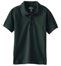 Dickies Boys' Short Sleeve Pique Polo Shirt, Hunter Green, Size L/14-16 - $10.93