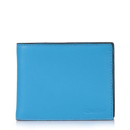Calvin Klein Ck Men's Leather Wallet Bifold Id Key Fob Set Blue 79515