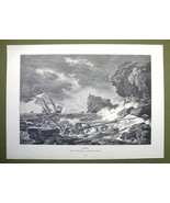 SHIPWRECK Seastorm Stormy Sea High Stone Cliffs - VICTORIAN Era Print - $12.14