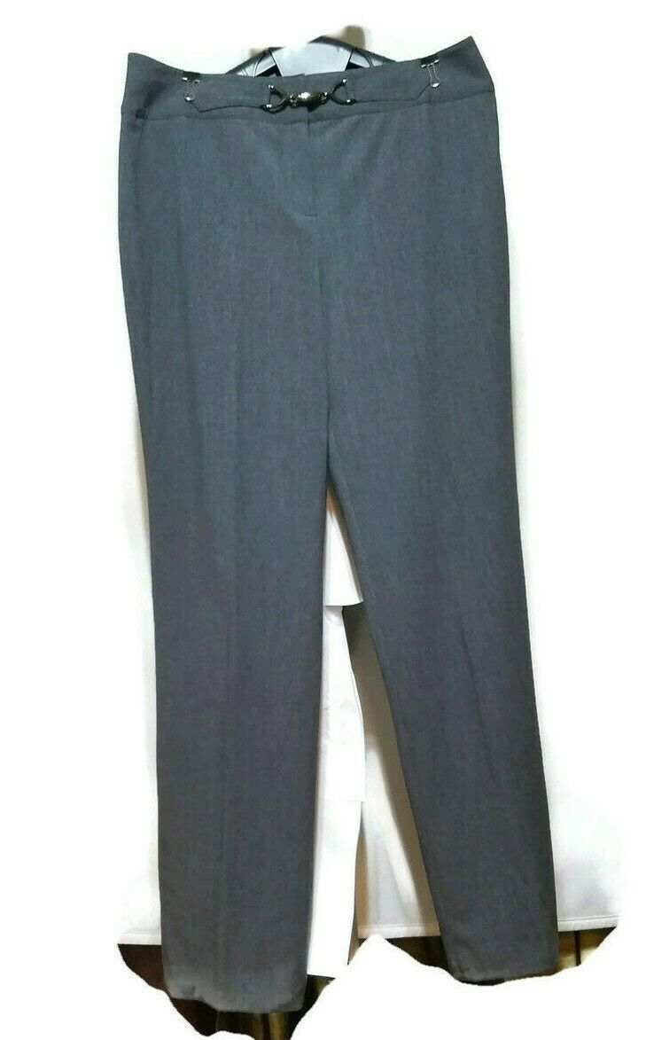 Style & Co Women's Dress Pants Career Stretch Gray Metal Clasp Accent Size 10