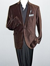 Men's Adolfo Chocolate  Brown Cotton Velvet  Blazer Jacket Formal or Casual - $59.97