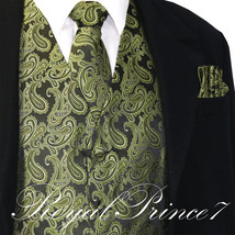 Olive Green XS to 6XL Paisley Tuxedo Suit Dress Vest Waistcoat & Neck ti... - $22.75+