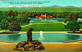 Denver City Park Panoramic View Denver Colorado CO Linen Postcard - $5.89