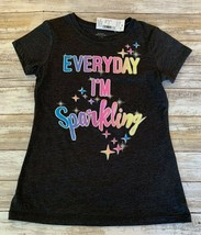 """Sears Girls Gray Graphic glitter Tee """"Everyday I'm Sparkling"""" Size M (10... - $6.93"""